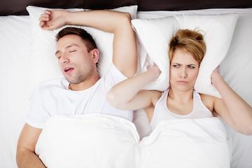 sleep apnea trouble couple in bed
